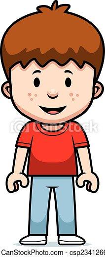 Chico de dibujos animados feliz - csp23412664