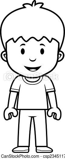 Chico de dibujos animados feliz - csp23451172