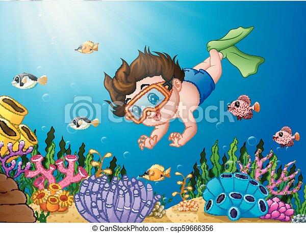 El chico de los dibujos buceando en el mar - csp59666356