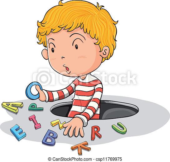 Un chico con letras inglesas - csp11769975