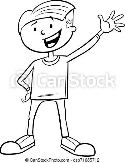 Kid Boy dibujos animados libro de colores - csp71685712