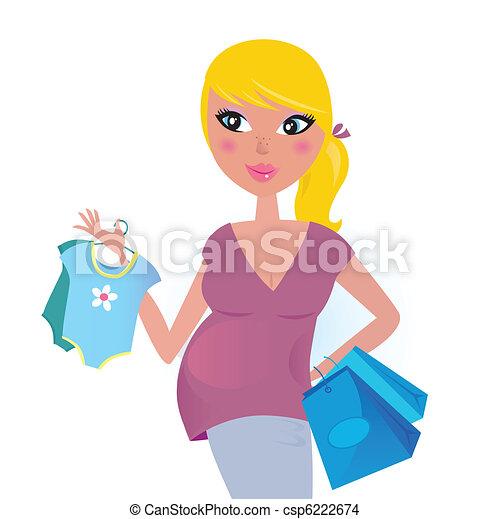 Feliz madre embarazada de compras para el bebé - csp6222674