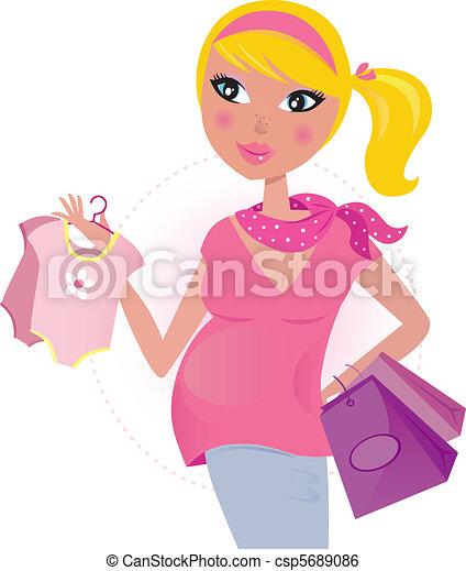 Mamá embarazada de compras para el niño - csp5689086