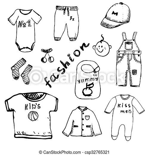 fcb9ca771c9c niño, conjunto, mano, bebé, dibujado, ropa