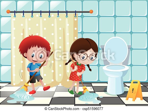 Niño, cuarto de baño, limpieza, niña. Niño, cuarto de baño ...