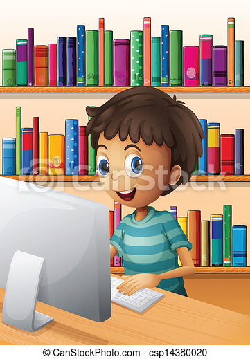 Un chico usando la computadora dentro de la biblioteca - csp14380020
