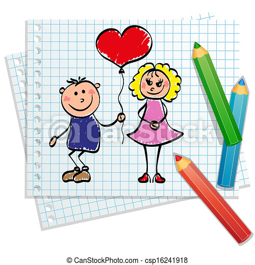 niño, dibujado, -, niña, mano - csp16241918