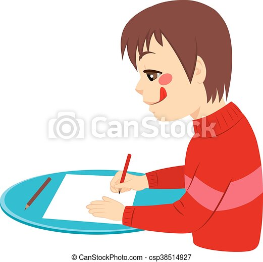 El chico dibuja feliz - csp38514927