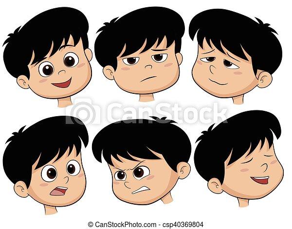 Cabeza de niño de dibujos animados. Vector conjunto de diferentes íconos emocionales. - csp40369804