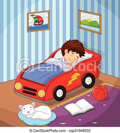 Ni o dormido era cama coche ni o coche cama vector - Cama coche para ninos ...