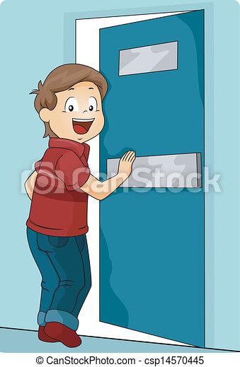 Chico empujando una puerta para entrar - csp14570445