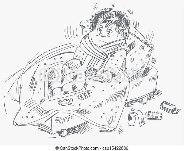 El chico se enfermó y estaba en la cama - csp15422886