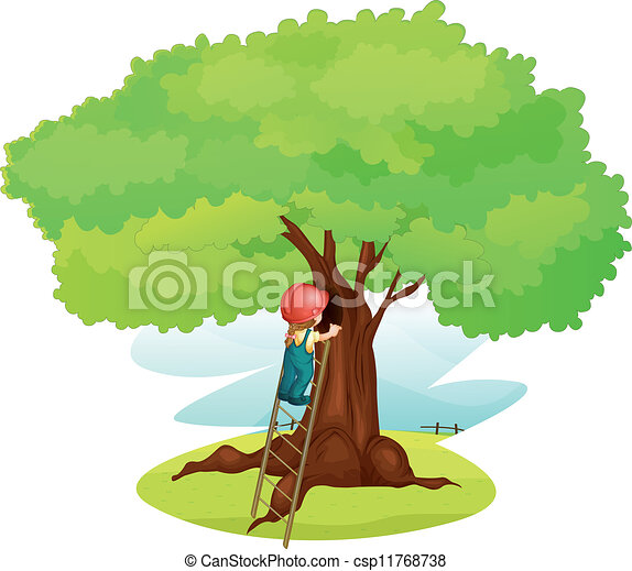 Un chico y una escalera bajo el árbol - csp11768738