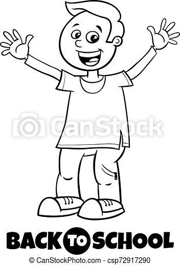 Chico feliz de vuelta al libro de color de dibujos de la escuela - csp72917290