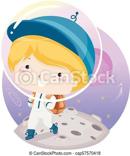 Ilustración de niños de escuela espacial - csp57570418