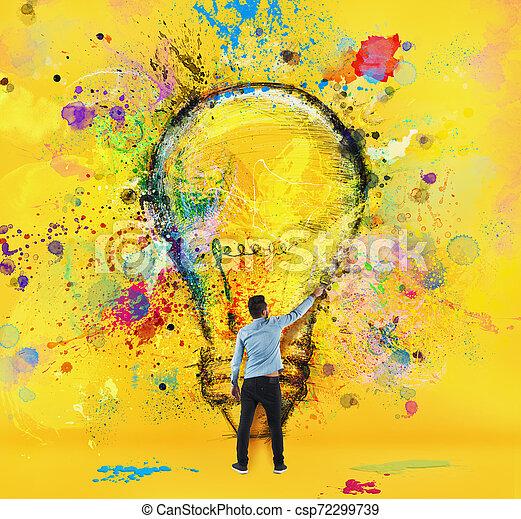 El chico dibuja con un cepillo una gran bombilla. Concepto la innovación y la creatividad. Estilo amarillo - csp72299739