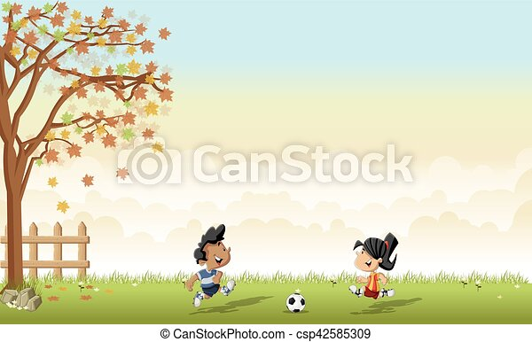 Chico y chica jugando fútbol / fútbol - csp42585309