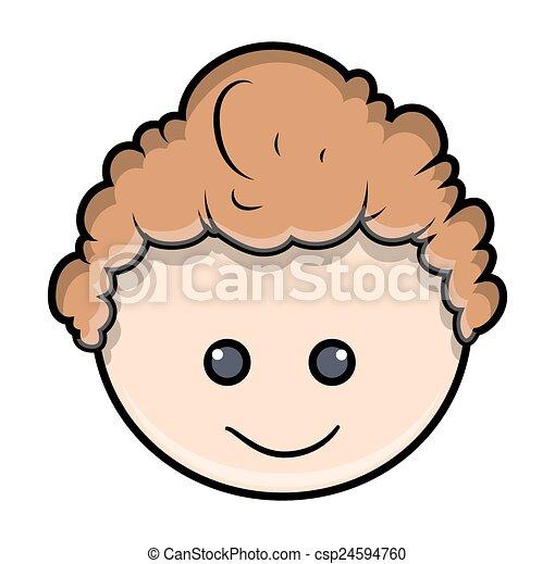 Niño Feliz Caricatura Cara Divertido Niño Ilustración Cara