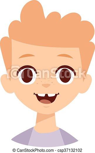 Niño Feliz Vector Illustration Cara Emoción Niño Clipart
