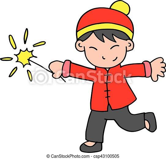 Personaje de niño con fuegos artificiales - csp43100505