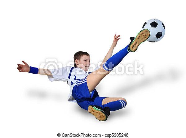 Chico con pelota de fútbol, futbolista - csp5305248
