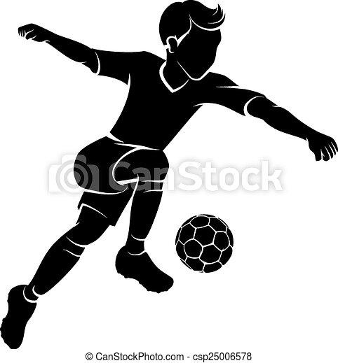Chico del fútbol pateando siluetas - csp25006578