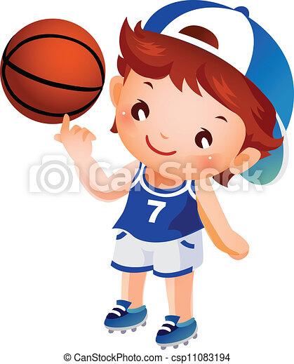 Grficos vectoriales EPS de nio girar baloncesto dedo  Boy