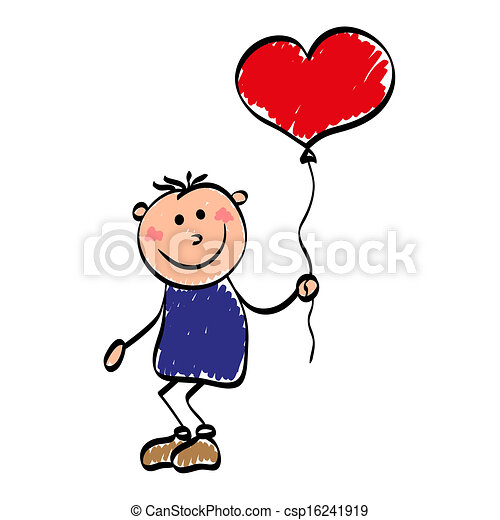 niño, globo, enamored - csp16241919