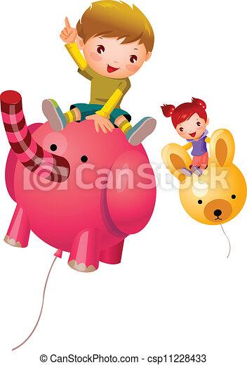 Niño y Chica sentados en globo - csp11228433