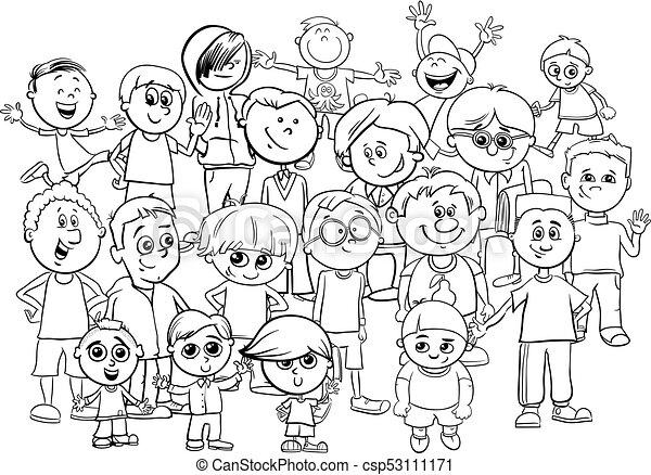 Niños personajes de grupo de dibujos animados - csp53111171