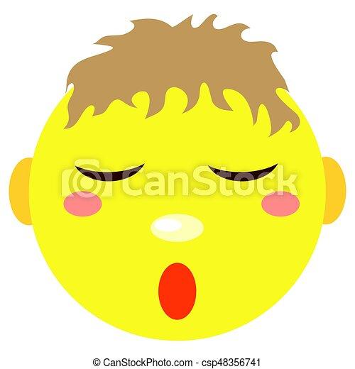 El niño sonriente duerme. Iconos en un fondo blanco. - csp48356741
