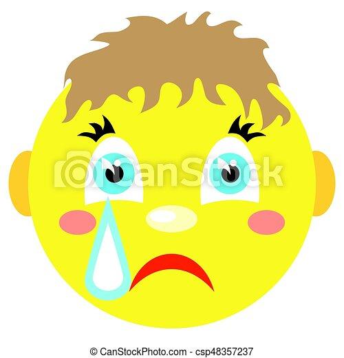 El niño sonriente llora. Iconos en un fondo blanco. - csp48357237