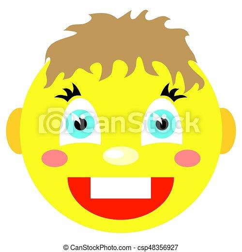 El niño sonriente se ríe. Iconos en un fondo blanco. - csp48356927