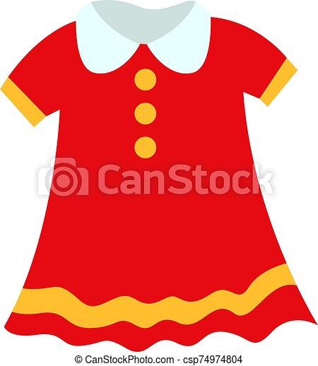 niño, ilustración, vestido blanco, vector, fondo. - csp74974804