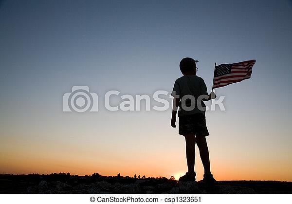Joven con bandera. - csp1323651