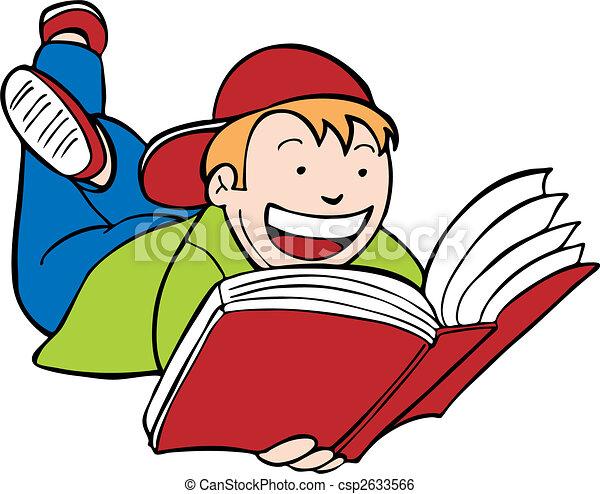Niño leyendo libros - csp2633566