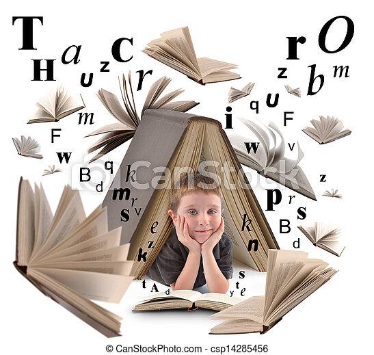 niño, libro de la escuela, cartas, lectura - csp14285456