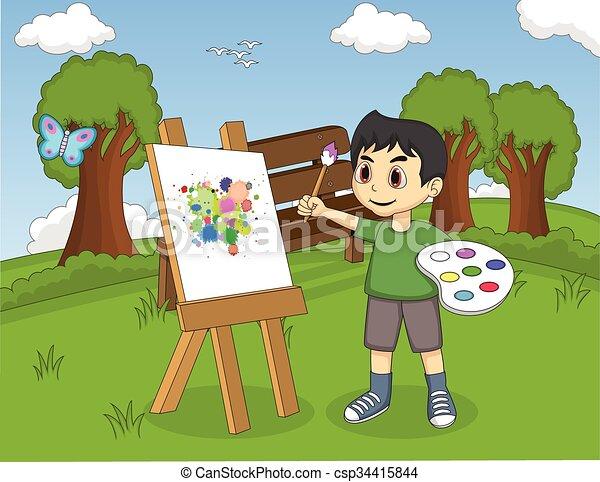 Artista pintando en lienzo - csp34415844