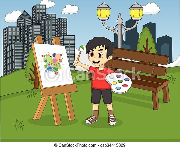 Artista pintando en lienzo - csp34415829