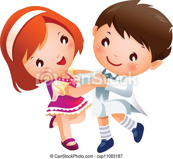 Chico y chica bailando - csp11083187