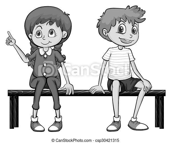Niña y niño sentados en un banco - csp30421315
