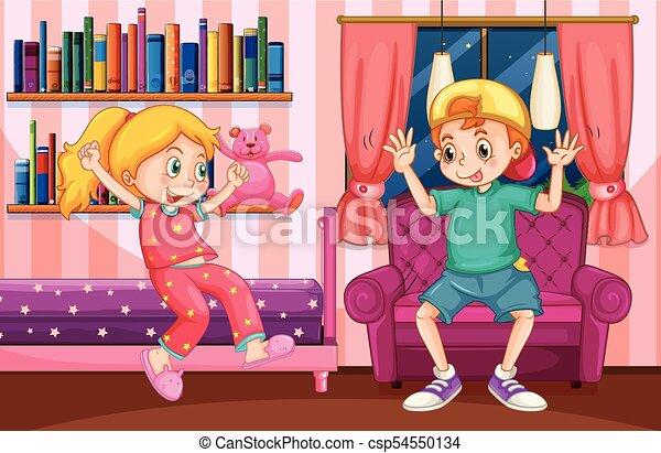 Nino Nina Juego Dormitorio Nino Nina Juego Ilustracion