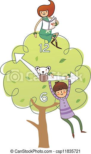 Una chica sentada en un árbol y un chico - csp11835721