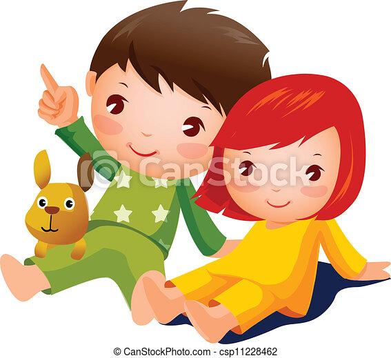 Niño y chica sentados - csp11228462