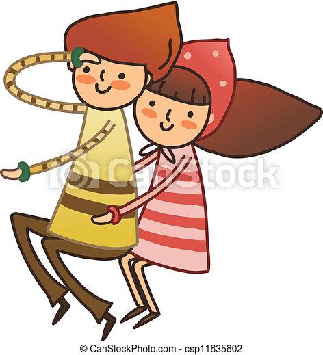 Niño y chica sentados - csp11835802