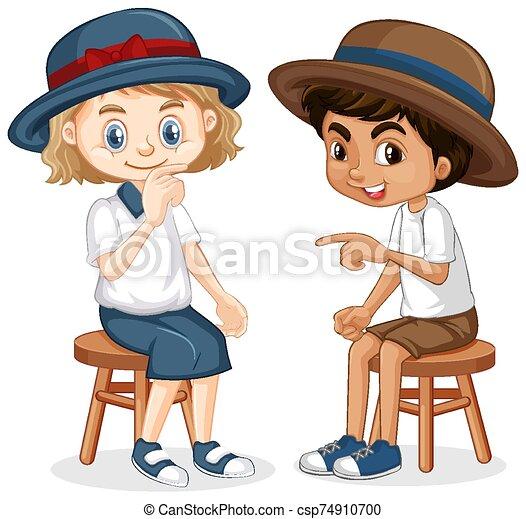 niño, niña, sentado, sillas - csp74910700