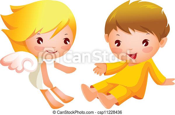 Chico y chica sentados - csp11228436