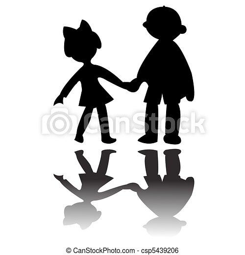 Chico y chica siluetas - csp5439206