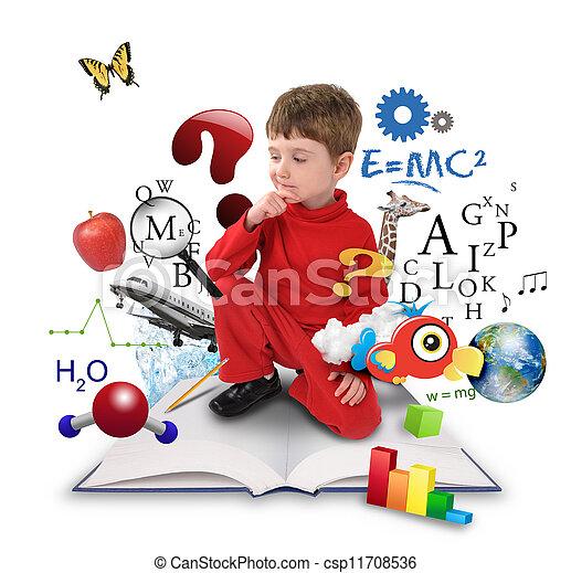 niño, pensamiento, ciencia, joven, libro, educación - csp11708536