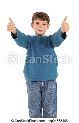 niño, poco, actuación, arriba, pulgares, feliz - csp21858468
